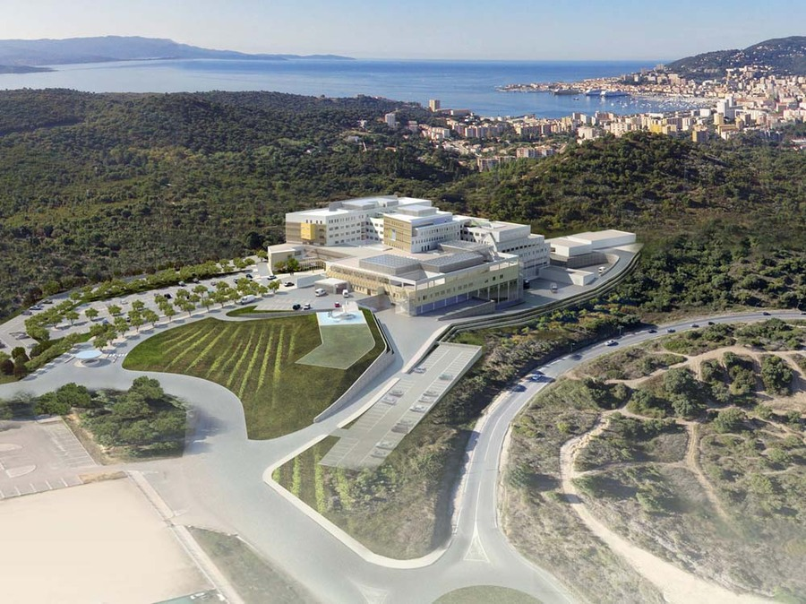 Le projet du nouvel hôpital Notre-Dame de la Miséricorde à Ajaccio, imaginé par le cabinet AART.