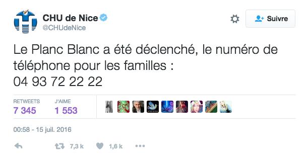À 0h58, le CHU de Nice annoncé le déclenchement du plan blanc