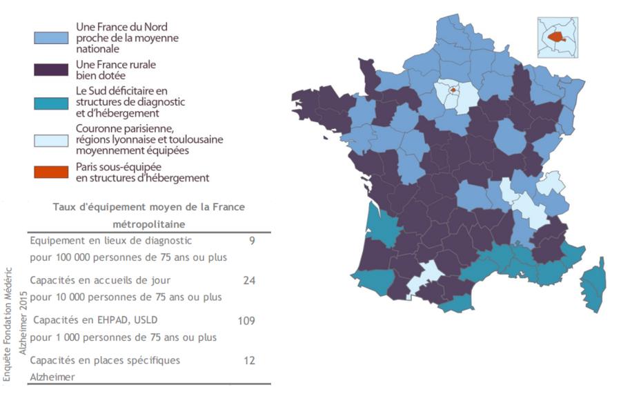 La fondation Médéric Alzheimer décrit une France composée de cinq groupes de départements.