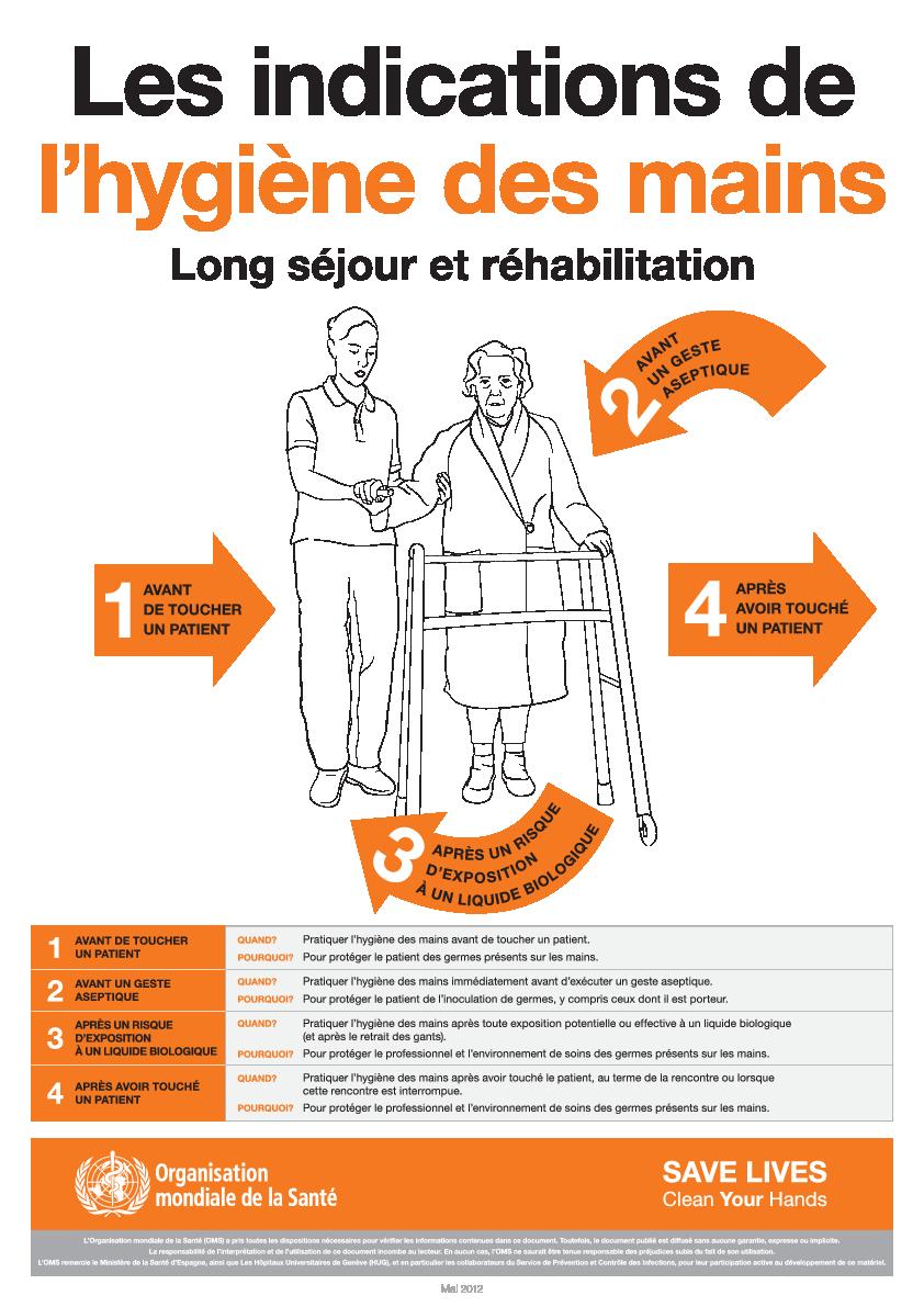 En 2012, l'OMS publie des affiches pour encourager les professionnels à se laver les mains dans des situations distinctes.