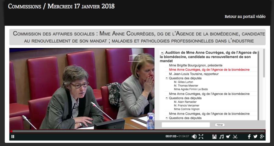 Anne Courrèges a été auditionnée le 17 janvier par les députés et le 16 janvier par les sénateurs.