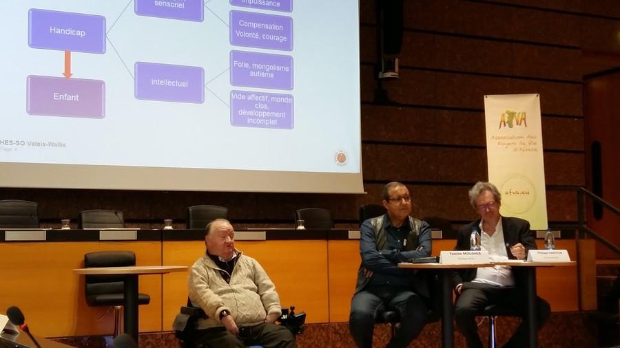 Pierre Margot-Cattin aux côtés de Yassine Mouaheb, président de l'Afva et de Philippe Darstein, juriste