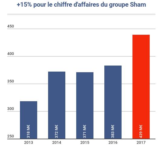 Évolution du chiffre d'affaires du groupe Sham entre2013 et2017 en millions d'euros(M€).