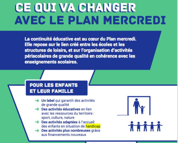 L'inclusion des enfants en situation de handicap est l'un des 4 axes de la charte qualité du plan.