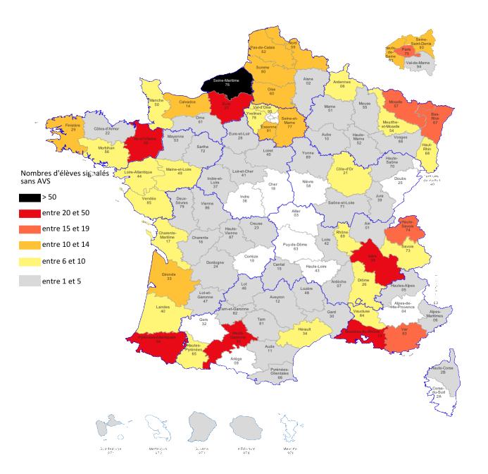 Le département qui enregistre le plus d'accompagnants absents est la Seine-Maritime.