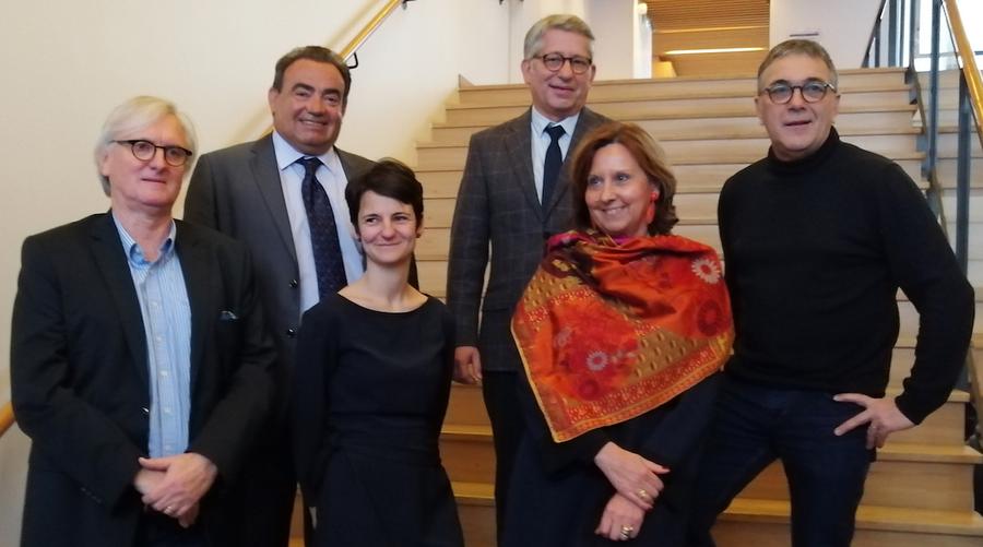 Le nouveau bureau de l'ANFH (de gauche à droite) : Luc Delrue, Alain Michel, Ophélie Labelle, Olivier Rastouil, Agnès Lyda-Truffier et Jean-Claude Bayle.