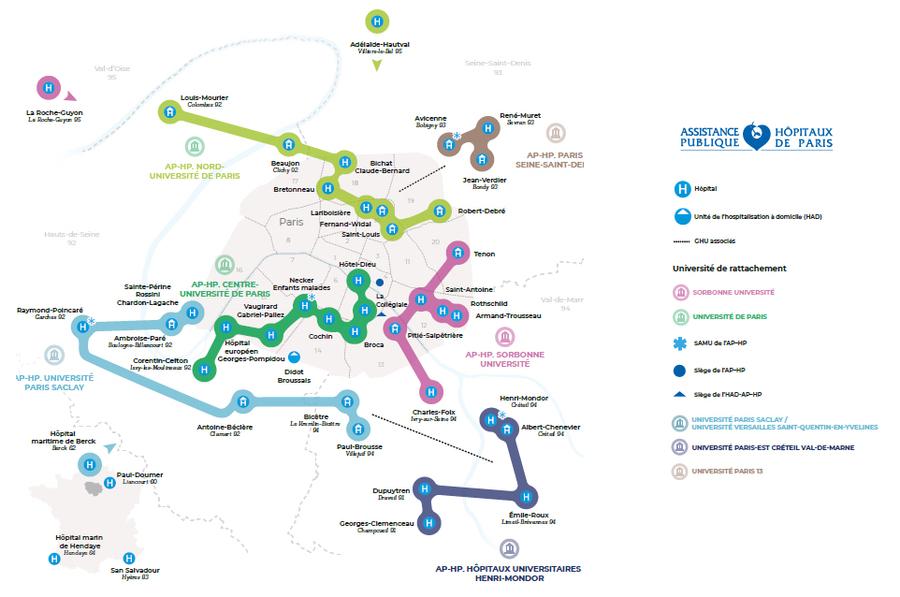 La nouvelle cartographie de l'AP-HP depuis ce début juillet, avec notamment ses quatre nouveaux GHU créés par fusion.