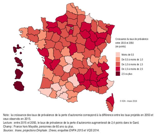 Croissance du taux de prévalence de la perte d'autonomie entre 2015 et 2050. Si la France métropolitaine affiche une augmentation des taux de prévalence comprise entre 0 et 2,4 points, en outre-mer, la perte d'autonomie explosera d'ici à 2050.