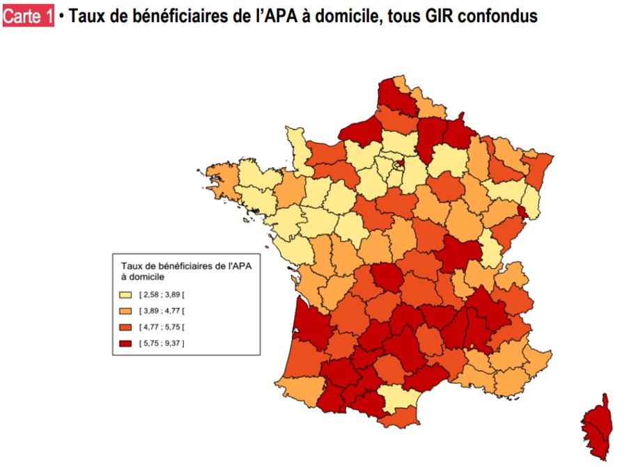 Selon les départements, les taux d'Apa à domicile varient de 2,6% à 9,4%.