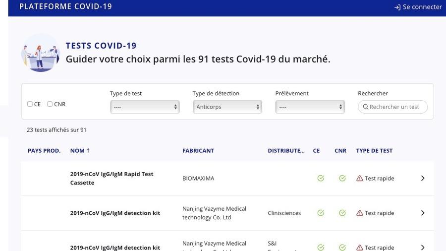 La liste du ministère de la Santé comprend au total 91 tests Covid-19 et a vocation à s'étoffer. (Ministère de la Santé)