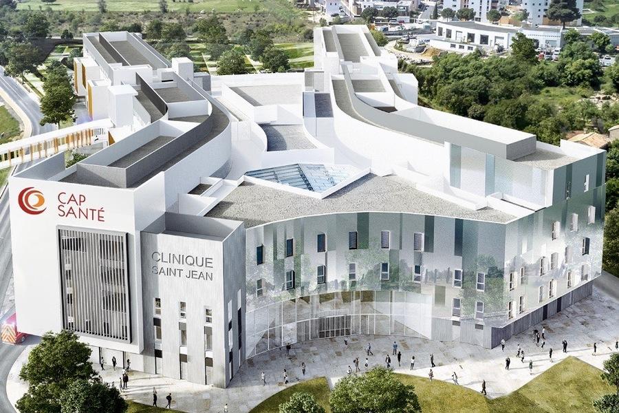 La nouvelle Clinique Saint-Jean sera située à Saint-Jean-de-Védas, à l'ouest de Montpellier. (Cap Santé/A+Architecture)