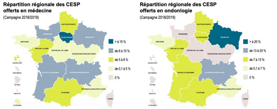 18,2 % des contrats signés en médecine au titre de la campagne 2018-2019 concernent des étudiants et internes d'Île-de-France. (CNG)