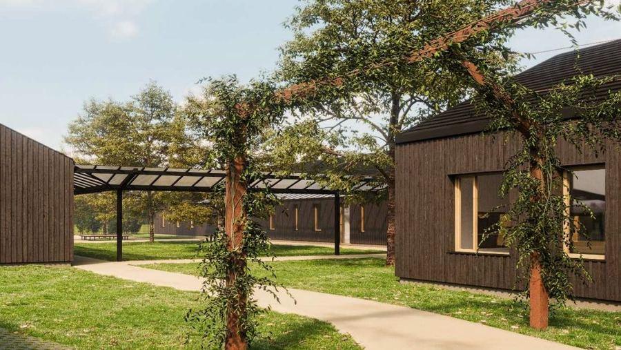 Le projet prévoit de nombreux espaces de détente extérieurs. Les différents pavillons sont reliés par des coursives et des pergolas. (Perspective Kocken et Duvette)