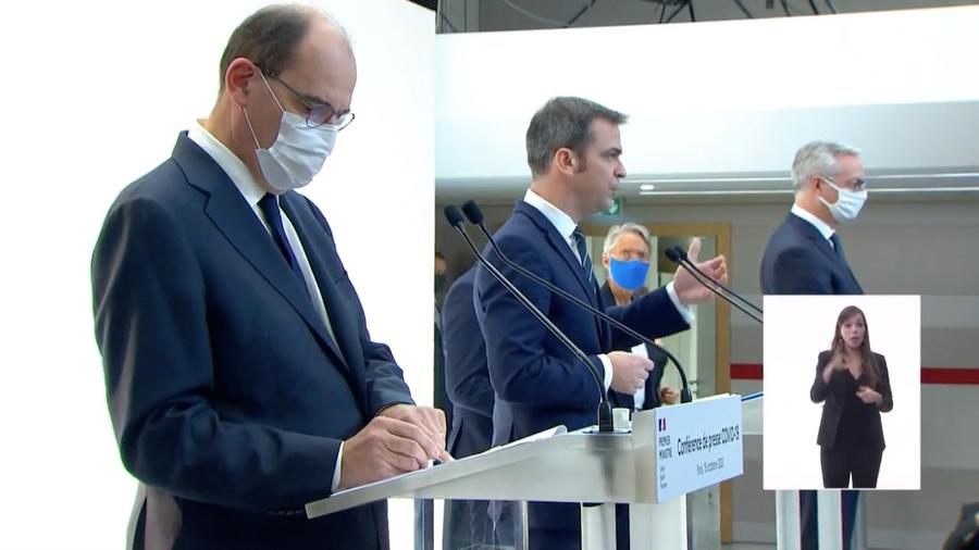 """""""Le système de soins tiendra grâce aux soignantes et aux soignants"""", a rappelé Jean Castex à l'occasion de la conférence de presse de ce 15 octobre. (Matignon/Capture d'écran)"""