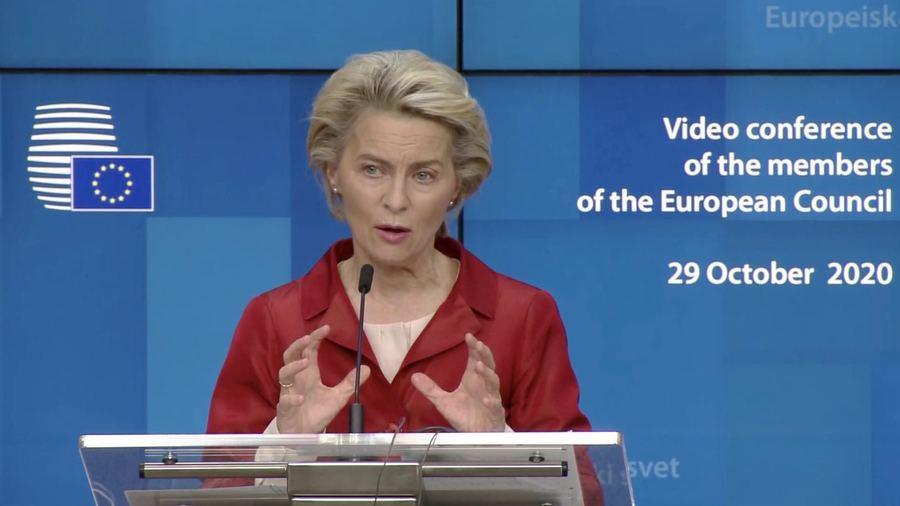 Ursula von der Leyen a garanti que la distribution des vaccins se ferait de manière équitable. (Capture d'écran Conseil européen)