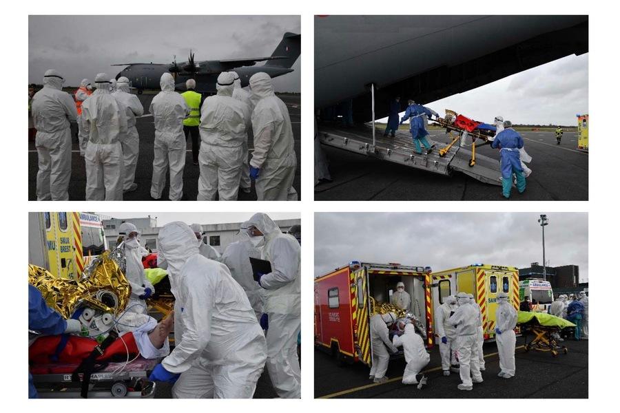 Sur les 16patients en réanimation évacués du Sud-Est vers la Bretagne, le CHU de Brest en a accueilli8, les autres étant répartis entre l'hôpital militaire Clermont-Tonnerre et les CH de Morlaix, Lorient et Vannes.(ARS Bretagne/CHU Brest)