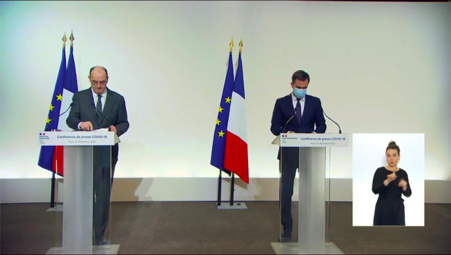 Olivier Véran et Jean Castex ont détaillé les quatre piliers de la version améliorée de la stratégie tester-alerter-protéger lors d'une conférence de presse, ce 10 décembre. (Capture d'écran)