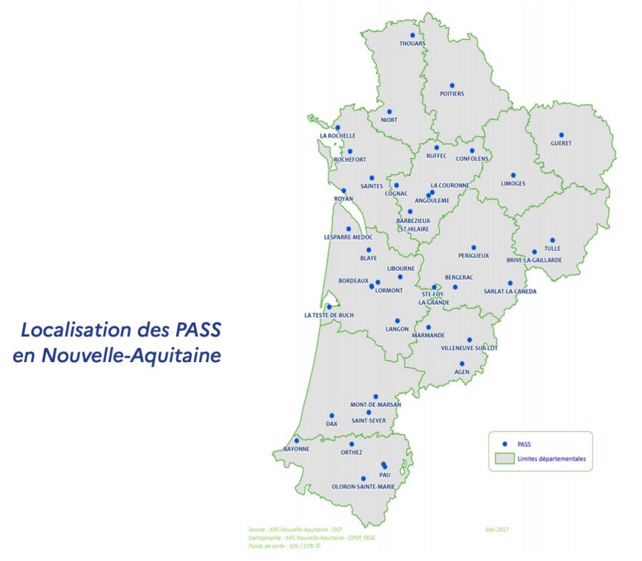 L'ensemble de la région est maillé par des  Pass dont la coordination est assurée par les CHU de Bordeaux et Poitiers. (ARS Nouvelle-Aquitaine)
