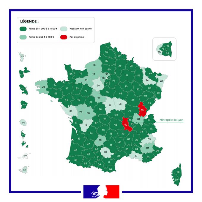 Les trois quarts des départements ont fait le choix d'une prime comprise entre 1000€ et 1500€. (Ministère délégué chargé de l'Autonomie)