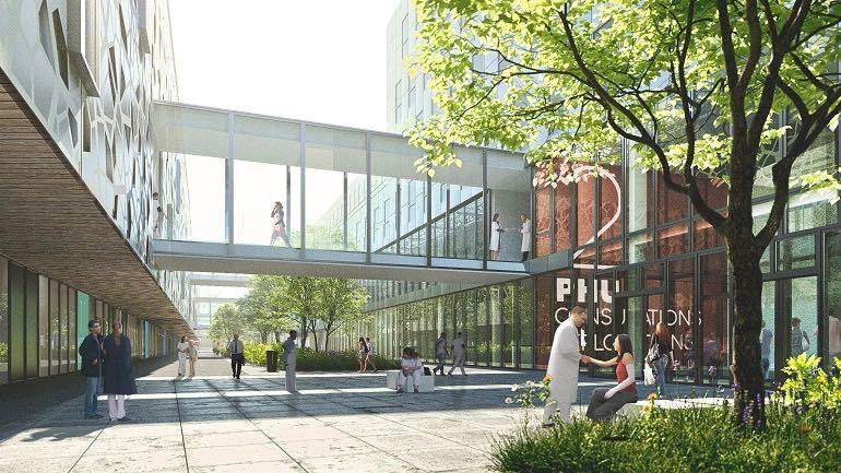 Le futur hôpital va conserver 192 lits alors que 230 devaient être supprimés dans le projet initial. (Art & Build-Pargade Architectes-Artelia-Signes Paysages)