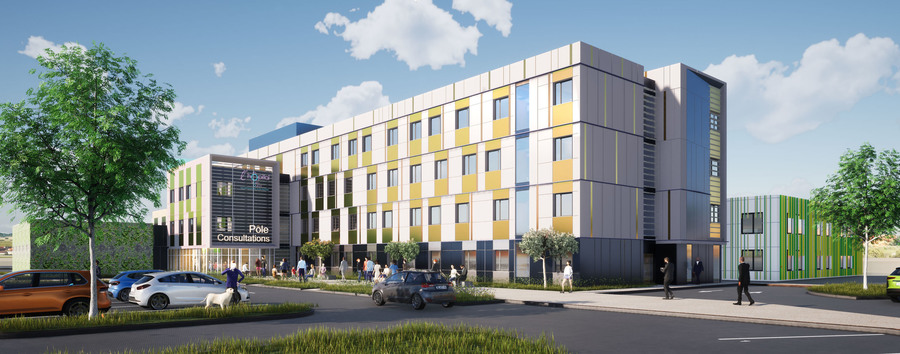 Le chantier du nouveau bâtiment du CH de Villefranche-sur-Saône est sorti de terre en neuf mois.(CRR Écritures Architecturales)