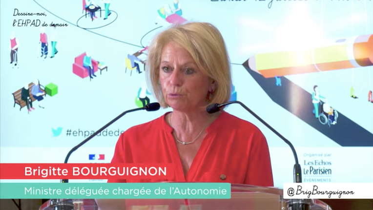 Lors de la clôture du colloque Dessine-moi l'Ehpad de demain, Brigitte Bourguignon, ministre déléguée à l'Autonomie, a esquissé les trois piliers à même de soutenir la transformation des Ehpad. (Capture d'écran)