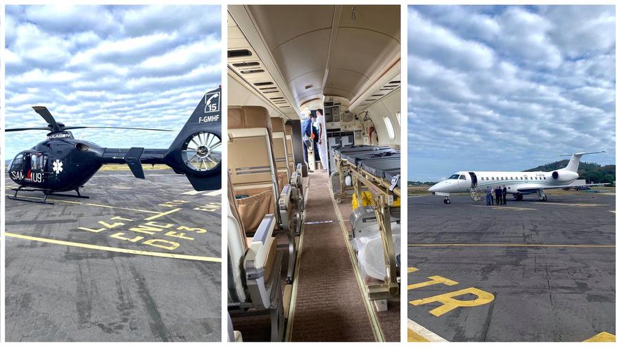 L'hélismur, un hélicoptèreEC135, relève de la société Hélilagon et l'avion sanitaire, un Embraer135, de la compagnie Amelia.(ARS Mayotte)