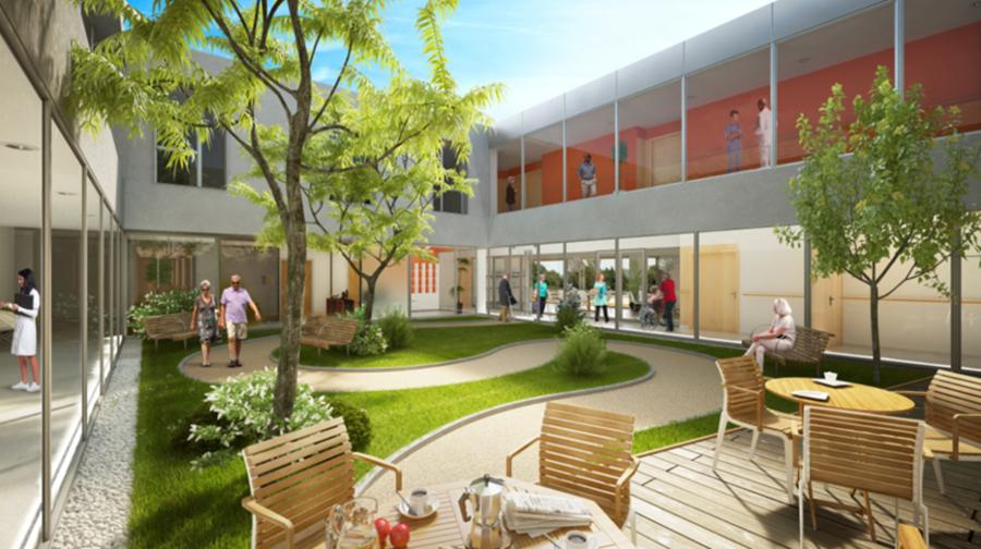 Sur les trois patios du futur établissement, deux seront sécurisés. (CHRSO)